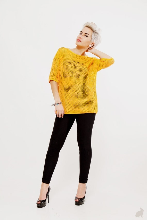 Vintage 80s Orange Grid Lock Cover up - Open Knit - See Through Sweater