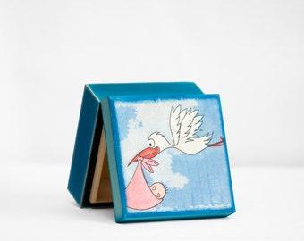 Baby Shower Gift Box, Stork Treasure Box, Wooden Trinket Box, Gift for boy or Girl