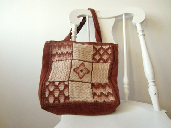 vintage brown courduroy tote with geometric yarn patterned squares