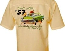 Men's Classic Car Shirt -1957 Chevy Bel Air, Vintage Look- Casual Car Shirt, Yellow, 3XLarge, Father's Day gift, Car gift, vintage cars