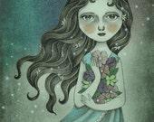 Fantasy Art Flower Fairy Illustration, Nursery Wall Art, Girls Room Decor, Fine Art Print - Flower the Midnight Goddess by Amalia K