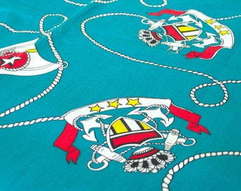 """Vintage Fabric - Nautical Print - Anchors on Teal - 35""""L x 44""""W - 1970's - Retro - Sewing Material - Craft Supply - Yardage"""