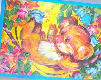 """Vintage Card - Large 9"""" x 7"""" - Cute Bright Koala Bear  - Unused - Nursery Wall Art - 1960's"""