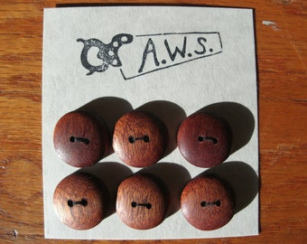 Six Wood Buttons Mahogany (3/4 inch)