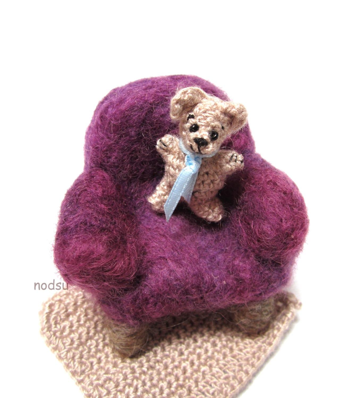 Miniature amigurumi teddy bear with a purple arm chair by ...