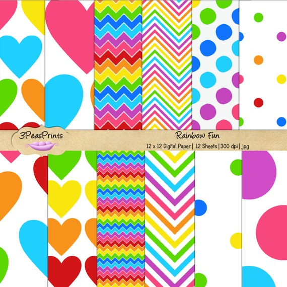 Rainbow Digital Paper Pack Rainbow Fun for Personal or Commercial Use Instant Download