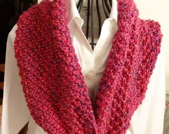 Hand Knit Fuchsia Cowl/Scarf Accessory