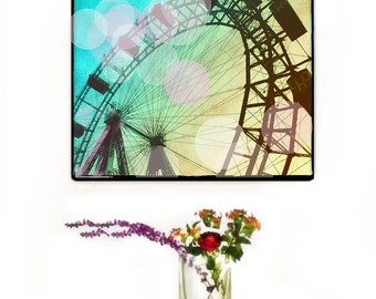 Ferris Wheel Canvas Wall Art Large, Ferris Wheel Photography Bokeh, Teal Canvas Decor, Carnival Art