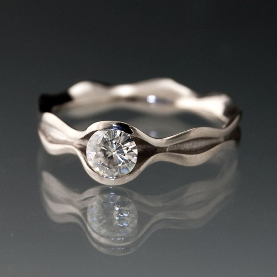 moissanite wave wedding or engagement ring in by