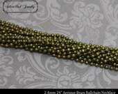 SOJ-062: Set of 10 - 24 inch 2.4mm Antique Brass Ballchain Necklaces