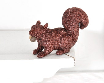 Squirrel Cake Topper Wedding Decor Woodland Animal Forest Baby Shower Decoration Glitter Table Settings, Birthday, Shower, Nursery Decor