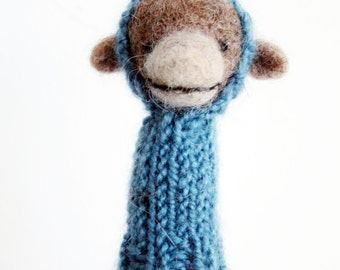Finger Puppet Soft Toy - MONKEY, needle felted from wool and knitted with yarn, blue, brown