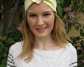 Chameuse and White Cotton Shell Flower Elastic Headwrap, for weddings, parties, special occasions