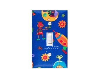 Robot Space Light Switch Plate Cover / Baby Nursery / Rocket Kids Room / Bot N Rockets / Michael Miller