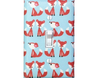 Fox Light Switch Plate Cover / Light Blue Gender Neutral Nursery Decor / Baby Girl Boy / Woodland Kids Room / Playroom