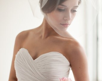 Double Layer Tulle Blusher Veil, Tulle Veil, Birdcage Veil, Wedding Veil, Bridal Veil - Chloe - Style 7313