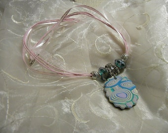 Necklace: Pink Ribbon and Cord Necklace with Polymer Clay Hand Made Rainbow Pendant