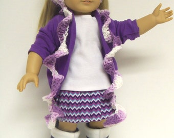 Doll Clothes for American Girl: Six Piece Slouch Cardigan/Pleated Skirt Set