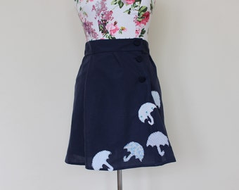 CLEAR OUT !!! Handmade navy high-waisted skirt with applique umbrellas: size UK 10 waist 29""