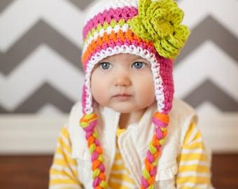 baby girls hat, baby hat, little girls hat, crochet baby hat, kids hat, crochet kids hat