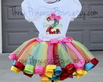Yo Gabba Gabba Tutu Set - Birthday Tutu Ribbon Tutu Set First Birthday