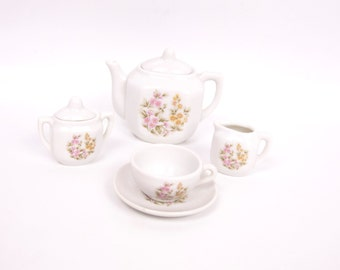 Vintage Childrens Tea Set Japan Hand Painted Floral Miniature Tea Set