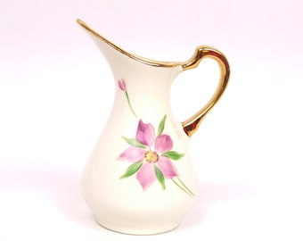 Vintage Demitasse Creamer Pink Floral Ivory Pitcher Heavy Gold Trim Hand Painted Miniature Ewer