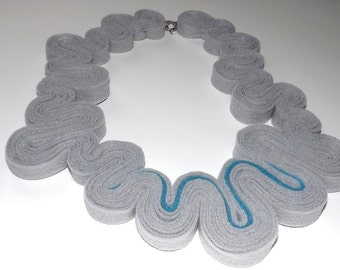 Neon Statement Necklace Jewelry Felt Necklace Felted Jewelry Recycled Eco Friendly Felt Bib Necklace In Neon Blue Aqua