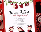 DIY PRINTABLE Invitation Card - Red Lady Bug Birthday Party - PS815CB1a2