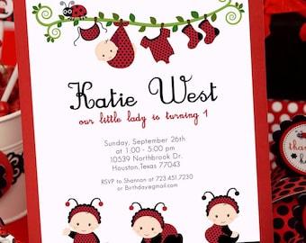 DIY PRINTABLE Invitation Card - Red Lady Bug Birthday Party - PS815CB1a2