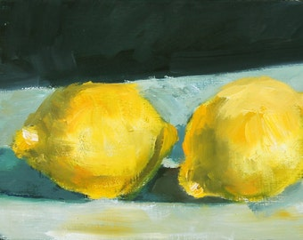 Lemon Still Life Painting Original Oil on canvas 6x12 inch Canadian Fine Art