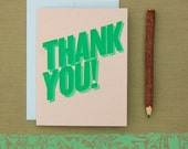 Letterpress Thank You Card - Emerald Speckle Tan Green Card with Blue Envelope Hand Printed Bold Simple - Blank Inside