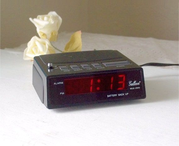 Vintage Alarm Clock  small black Solid State bedside electric alarm clock  by Galleon   Equity U S A  1980s era. Vintage Alarm Clock small black Solid State by TheWhitePelican