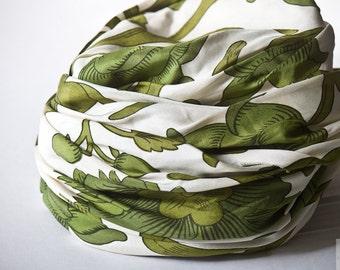 1950's Silk Hat - Turban, Green White Wrap, Mid Century Turban, Nostalgic Retro Chic