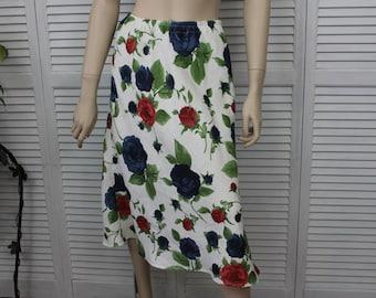 Vintage Skirt Floral Linen Long Mid Calf Skirt 26-30 Waist