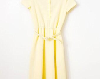 Vintage 1970s Canary Yellow Knit Shirt Dress - Doris Day Dress - Size Small