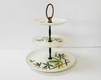 Authentic Vintage Three Tier Cake Stand // Asian Inspired Bamboo Leaves on Ivory Ceramic // 40s 50s Kitchen Nature Decor
