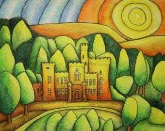 ACEO Limited edition art card of Cyfarthfa Castle Wales Merthyr Tydfil