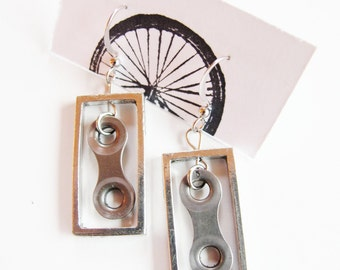 Bicycle Chain Link Earrings - Recycled Jewelry - handmade - bike