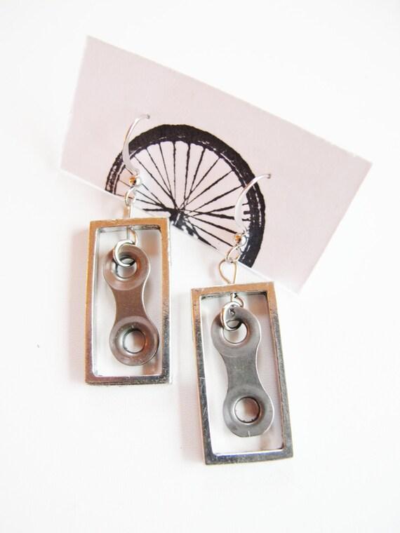 Bicycle Chain Link Earrings - Recycled Jewelry - handmade - bike