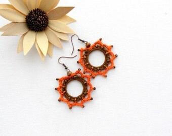 Crochet Earrings - Circle Earrings - Crochet Jewellery