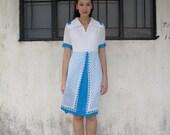 SALE PRICE/Vintage 60s Mod Dress/Twiggy/Wing Collar/Waitress Dress/Costume/Peek-a-boo/White Blue/Polka Dot Skirt/Extra Small-Small