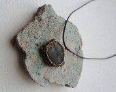 Glazed beach pottery pendant, brass wrapped rustic mens jewelry, forest green, brown, Lesvos Greece