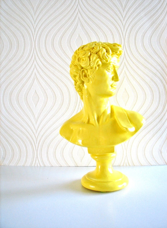 David Bust Statue in glossy lemon yellow