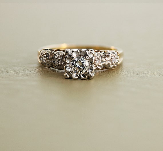 1940s Diamond Ring and Band - Yellow and White Gold Set