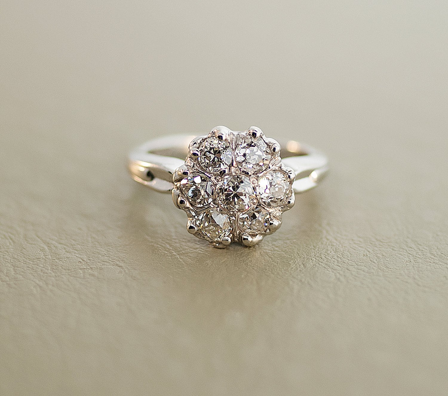 antique 14k white gold flower cluster by