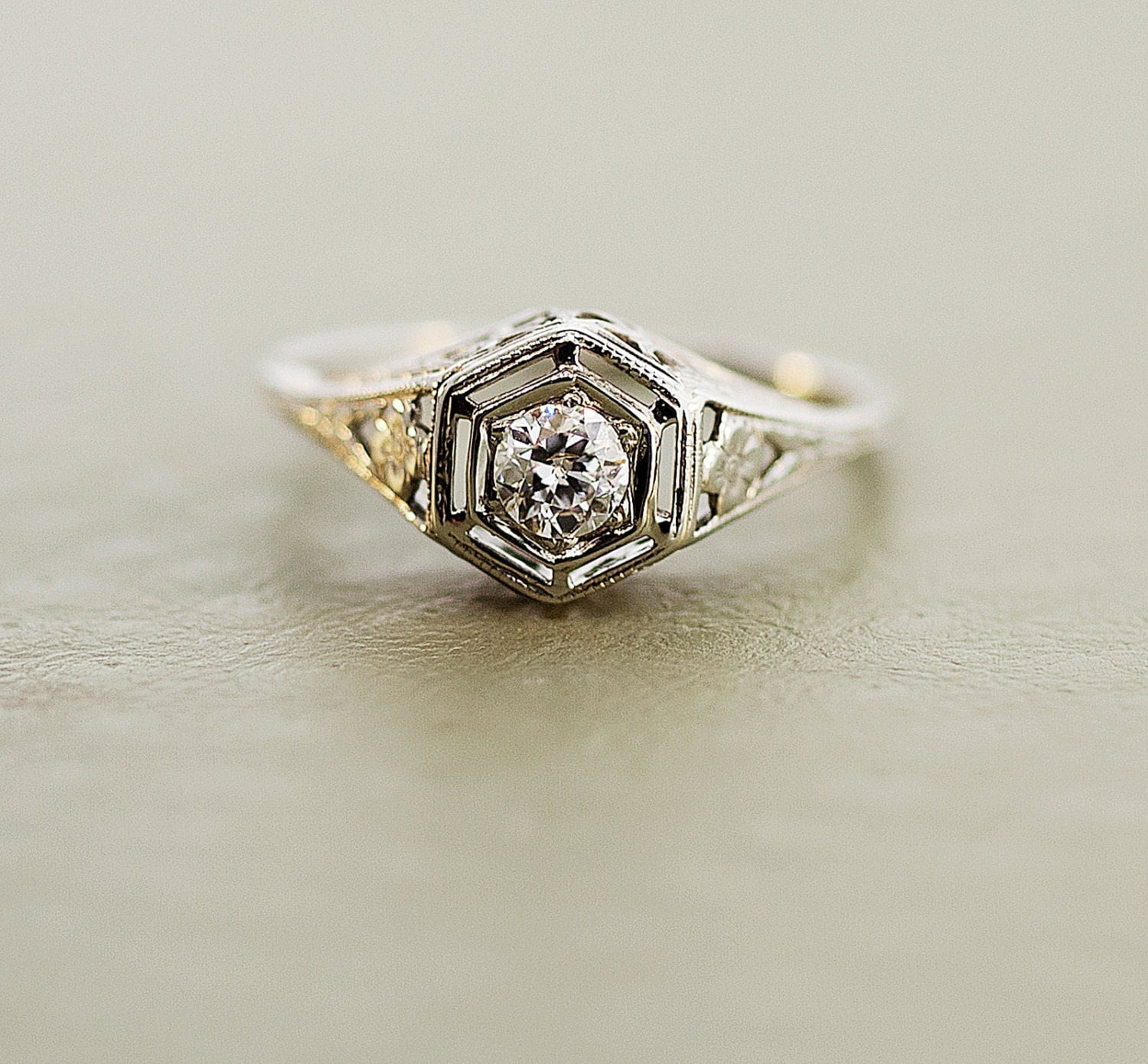 edwardian engagement ring 18k white gold by thecoppercanary