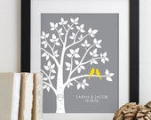 Personalized Wedding Gift for Couples Gift for Her Him Newlywed Engagement Anniversary Gift, Love Birds Wedding Family Tree Art Print