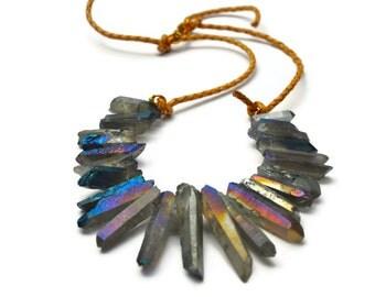 Iridescent Quartz Dagger Necklace Fall Sale