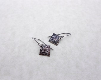 Fine Silver Metal Clay Earrings, PMC, Square Earrings, Diamond Shaped, Sensitive Ears, Niobuim